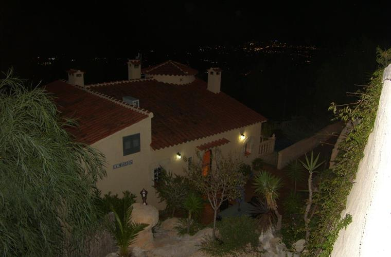 Villa at night from above