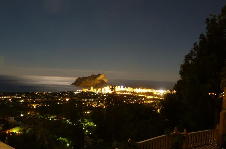 Calpe at night viewed from La Mansion