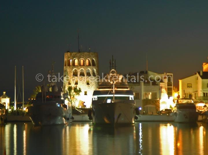 Puerto Banus harbour by night Marbella Spain