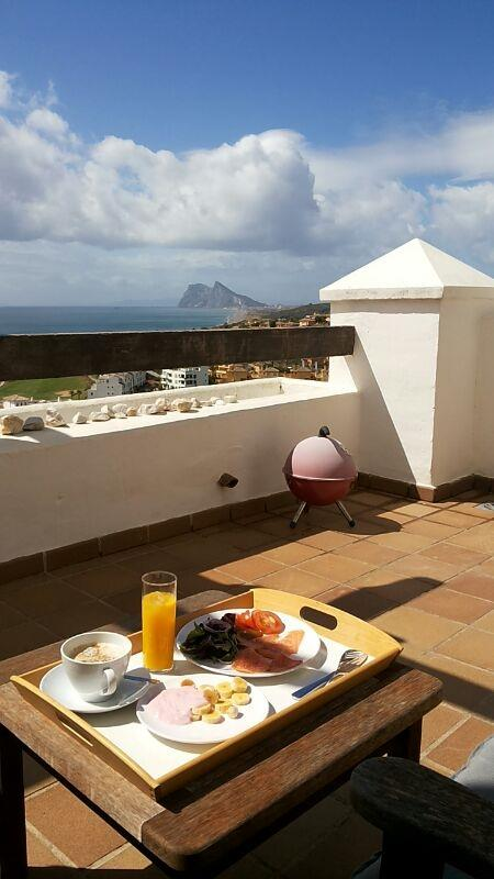Breakfast on the terrace, enjoying spectacular views