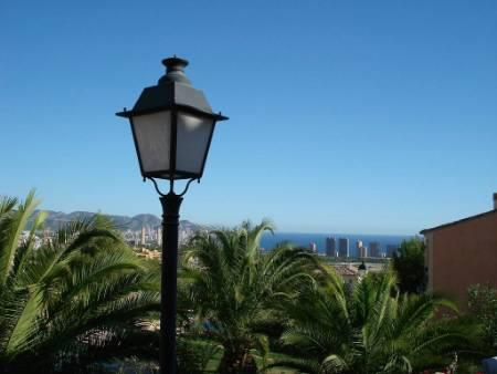 View of sea and nearby Benidorm from garden.