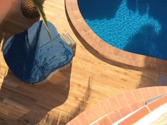 Birds eye view of new decking and hot tub