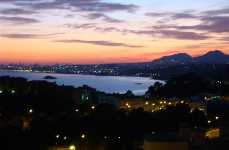 Sunset over Altea Bay as seen from the balcony