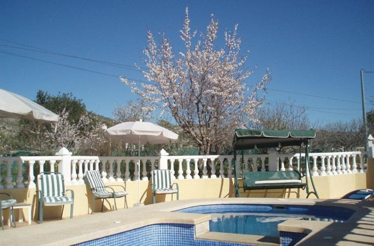 Lovely pool area'Villa Ana'with almond trees in blossom