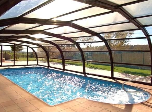 The pool can be covered and is heated