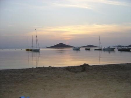 Mar Menor beach at sundown (just behind the apartment!)