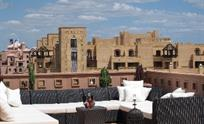 Outdoor seating and hotel