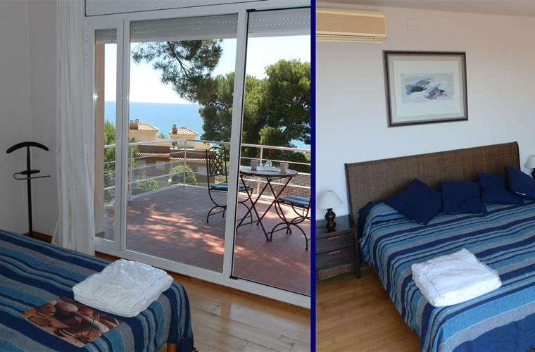 Double bedroom with panoramic sea views
