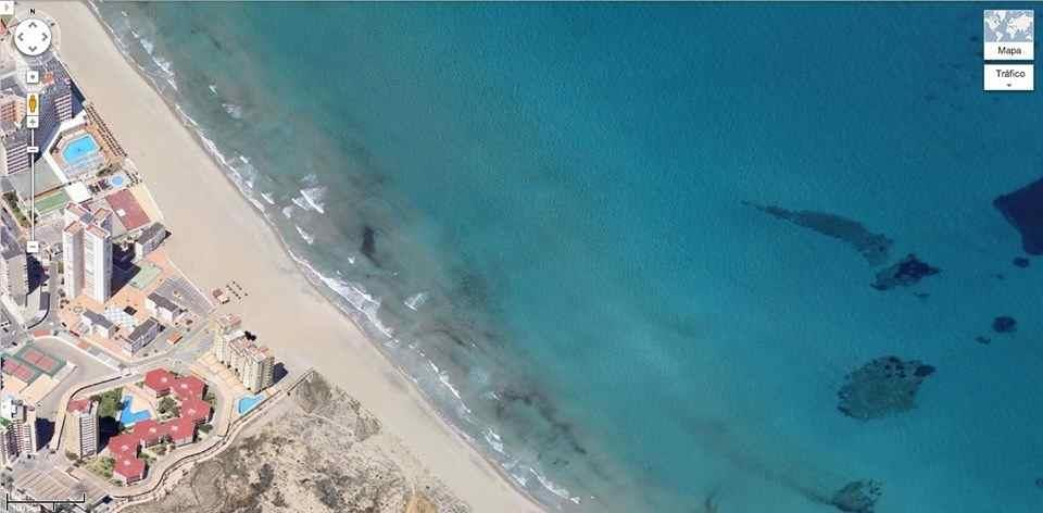 Overhead view of the Mediterranean beach 2 mins from the Villa