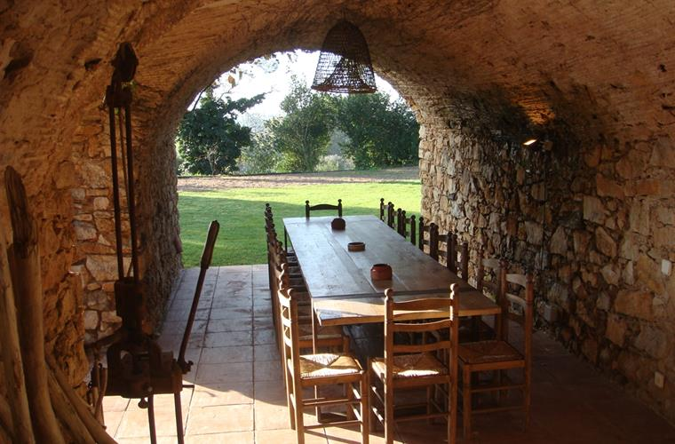 Summer dining room under vaulted porch