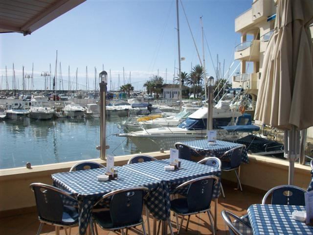 a terrace in the puerto marina