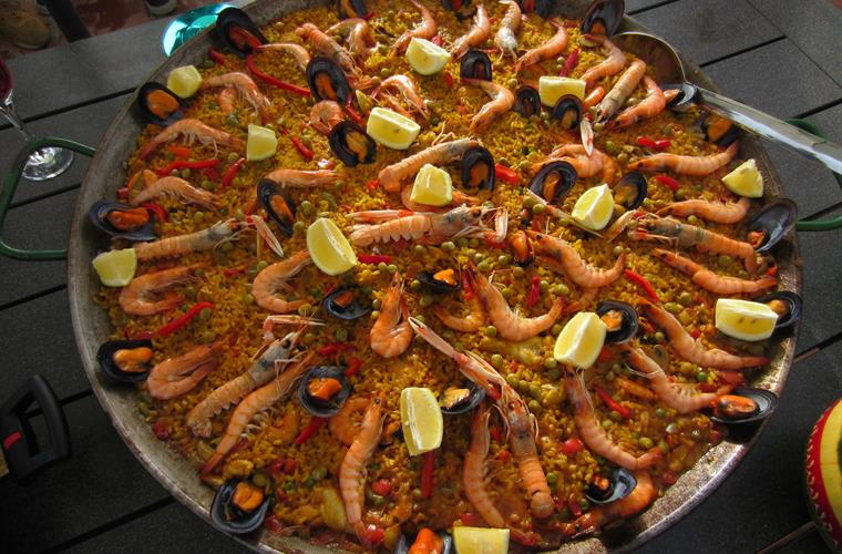 Paella, if you want you can order a paella on your terrace !