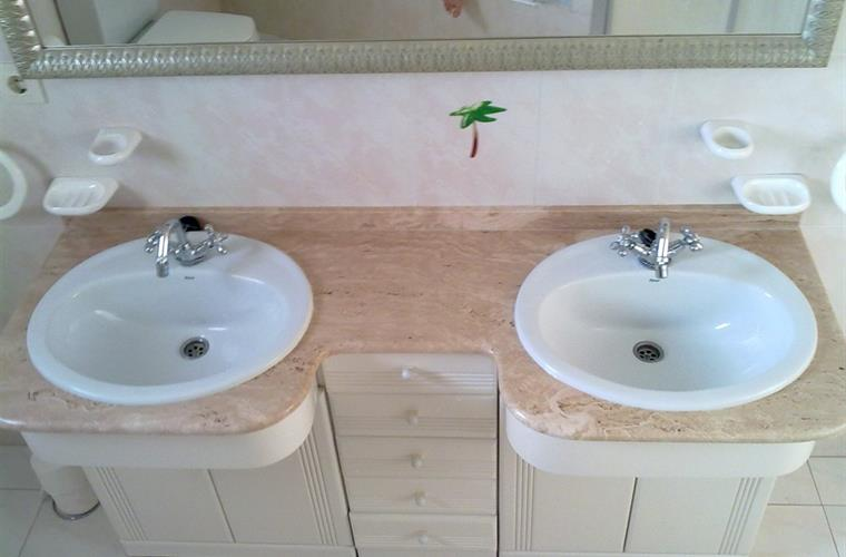 The Italian marple in the master ensuite bathroom.