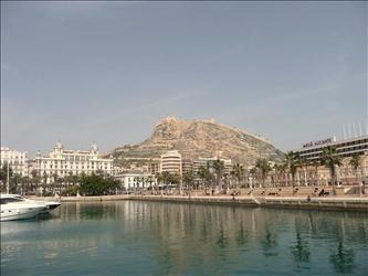 Alicante's port with on the background the fort.