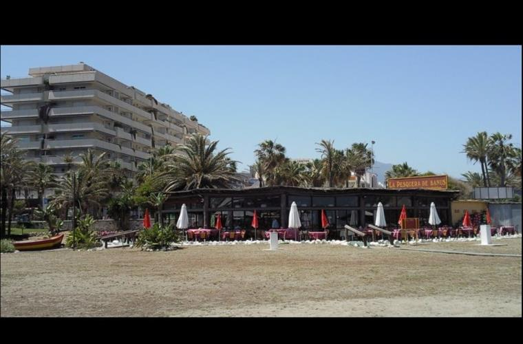 View of apartment building from Puerto Banus beach