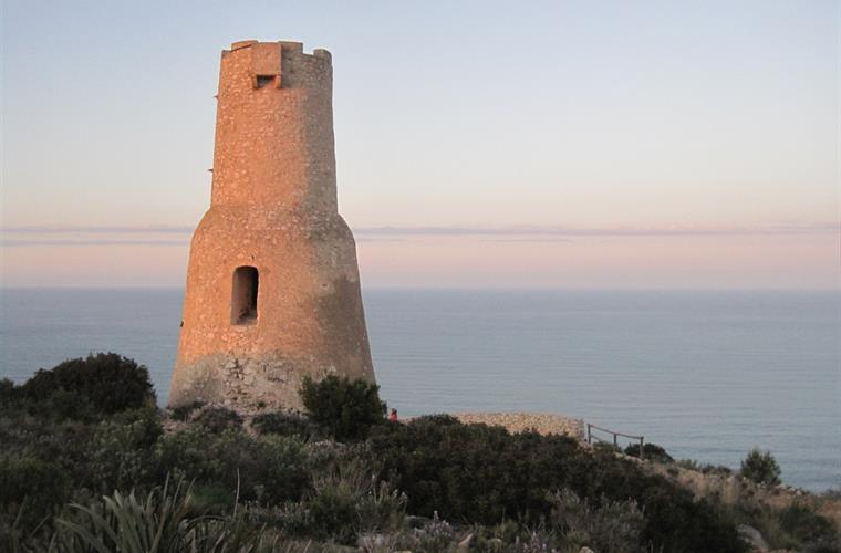 Historical tower in the hiking area of Montgó Natural Park