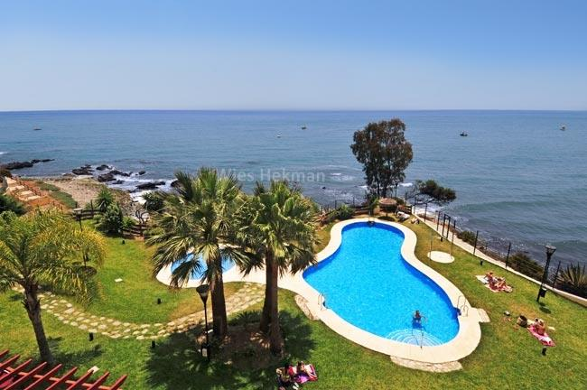 View from the terrace on the sea, garden and pool