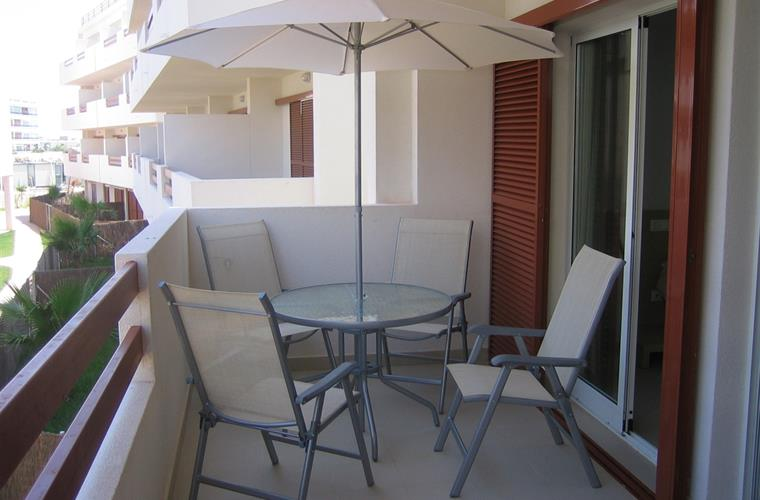 Balcony with patio furniture