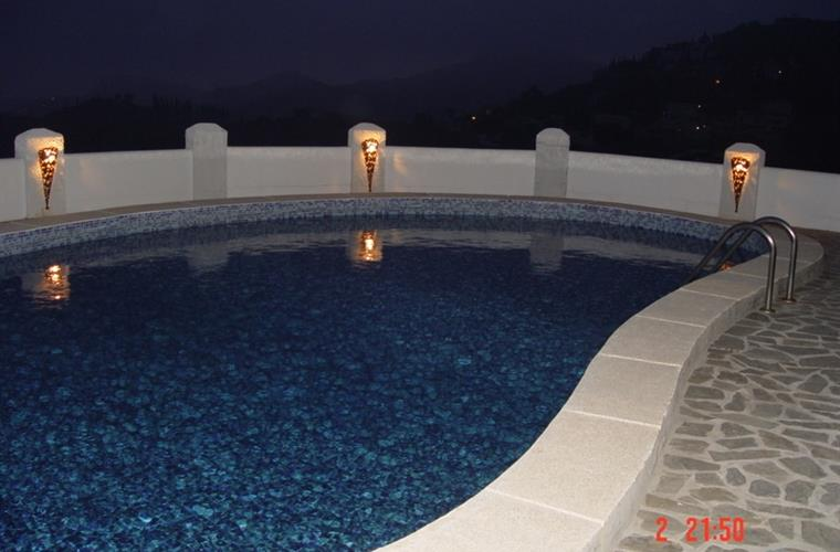 The pool with light in the evening