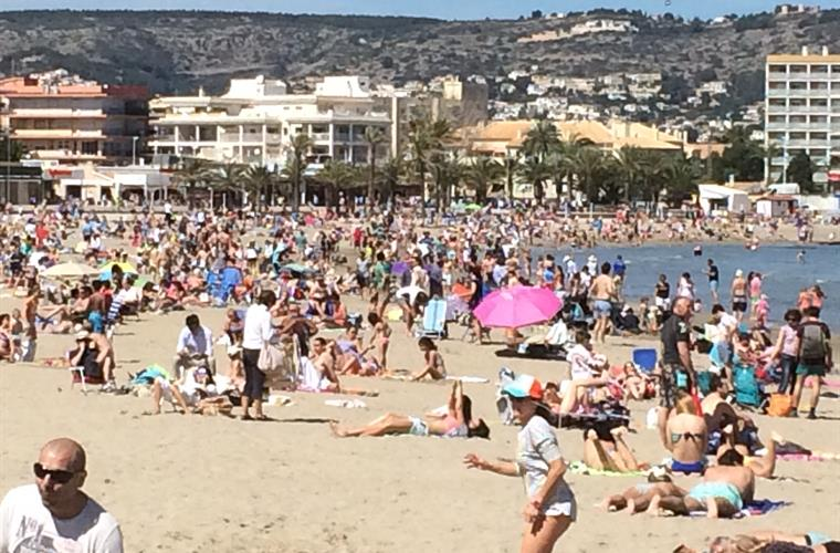 Moraira has many different beaches. This is the one in the centre.