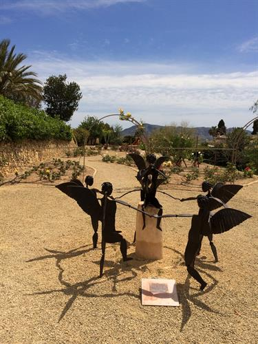 Beautiful sculptures in garden in Alfaz del Pi