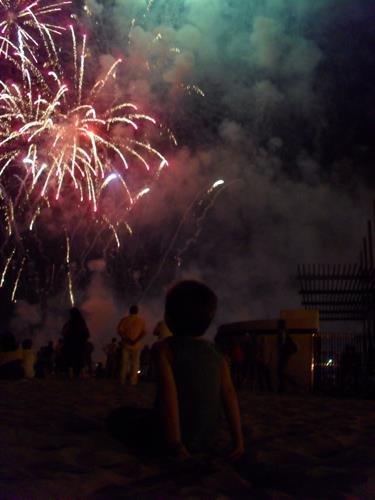 fire works on the beach in July