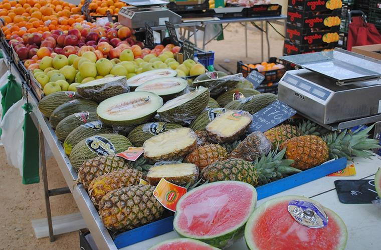 Local market street in Banyoles, every Wednesday.