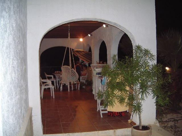 The side of the terrace by night
