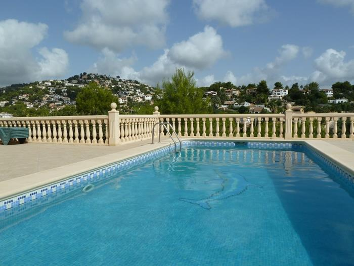large pool with extensive terrace, pool shower, gazebo & BBQ area