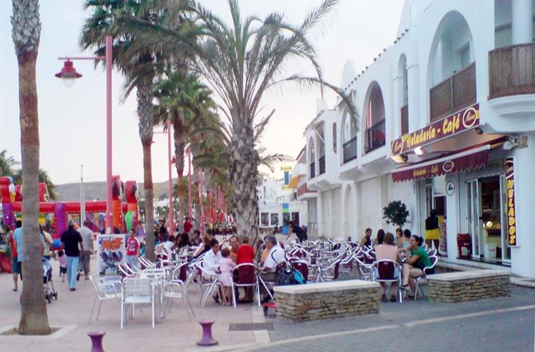 Village cafes and promenade.
