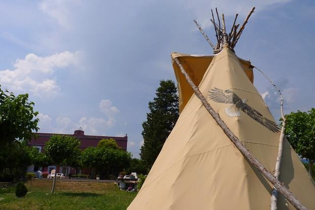 view of house and garden from the tipi