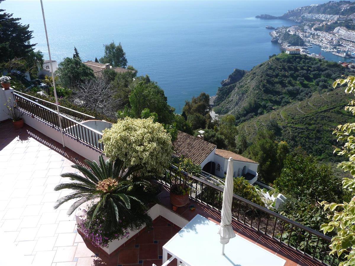 view downhill to beaches and terrace of apartment Mar (ref.10354)