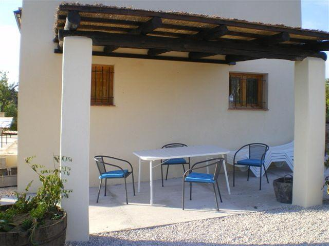 One of the terraces,with shaded area for outside dining