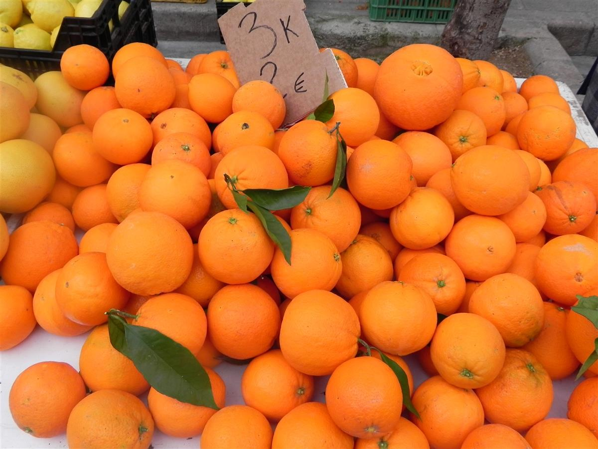 Valencia oranges at Teulada market
