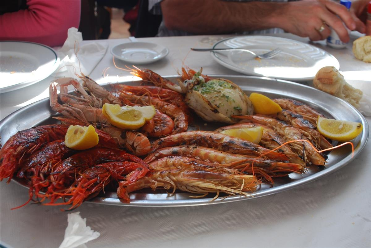 Shellfish platter at Calpe seafront restaurant