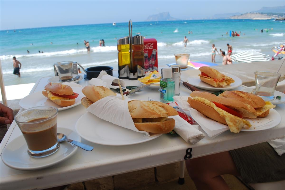 Breakfast at El Portet Beach 15 minutes away