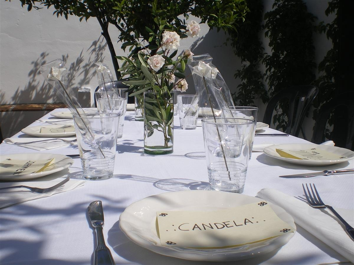 The courtyard is perfect for organizing meals
