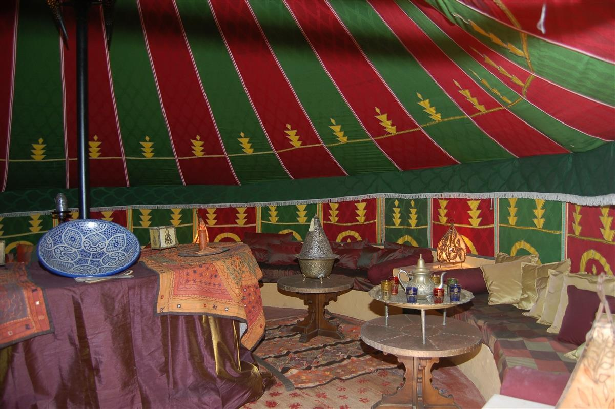 Inside the Moroccan tent