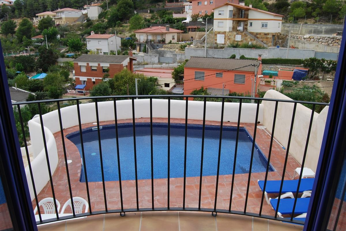 Swimming pool from the balcony of the dining area