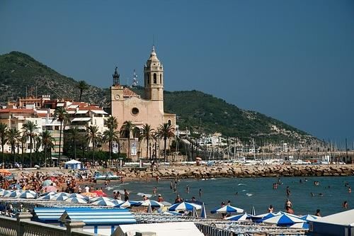 Sitges beach and its church
