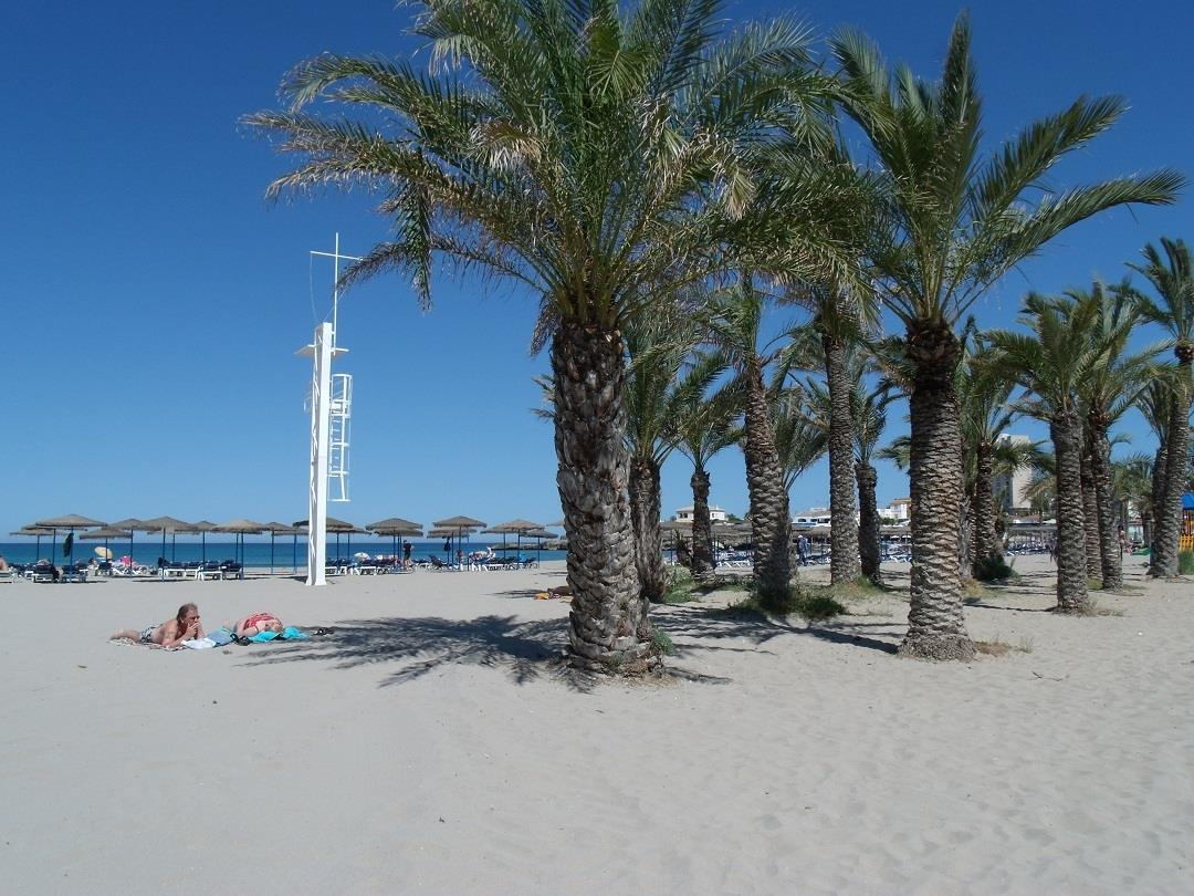Javea's Arenal beach's palms and lifguard station