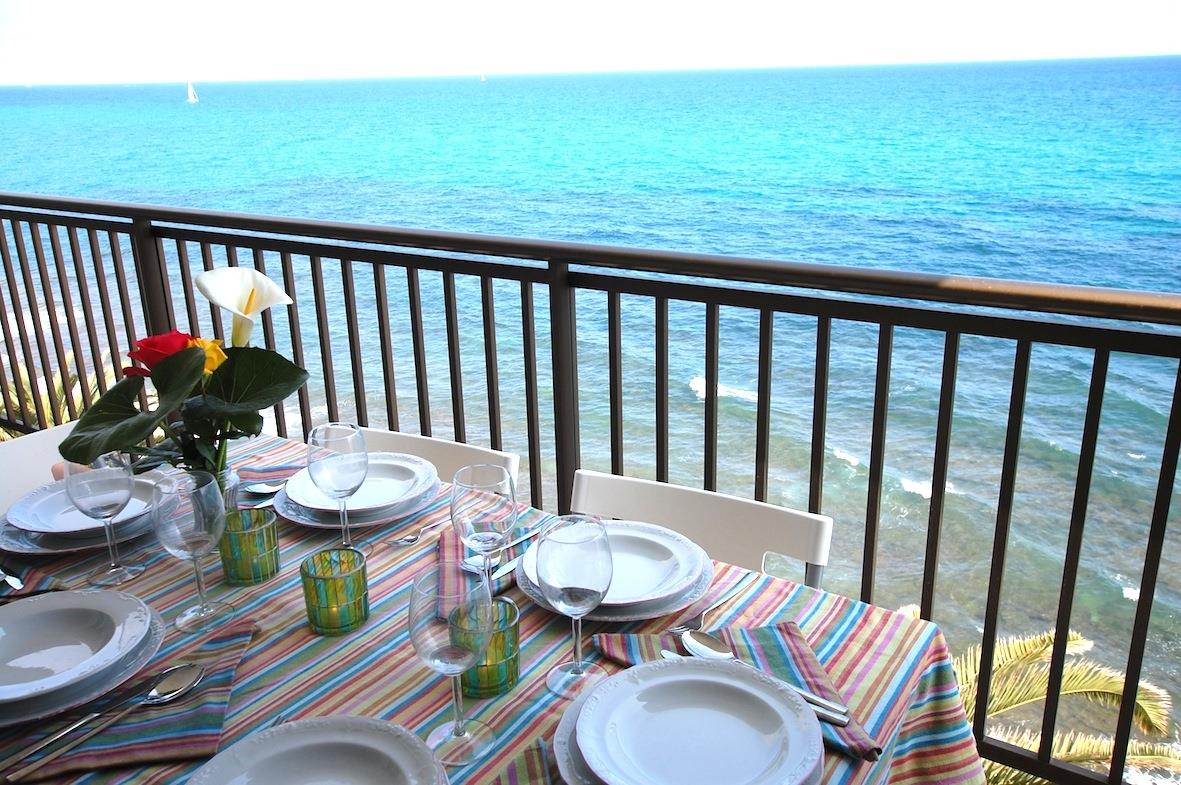 Exterior dining table with amazing views