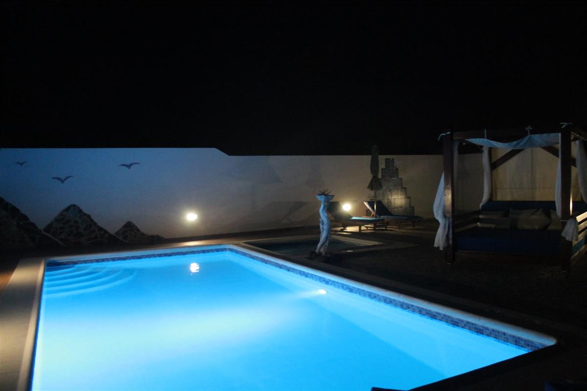 Iluminated pool at nighttime