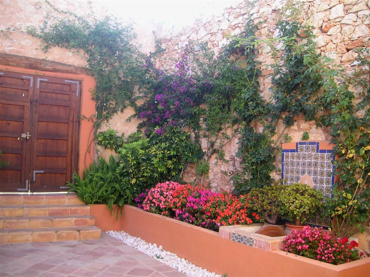 Patio with fountain and plants