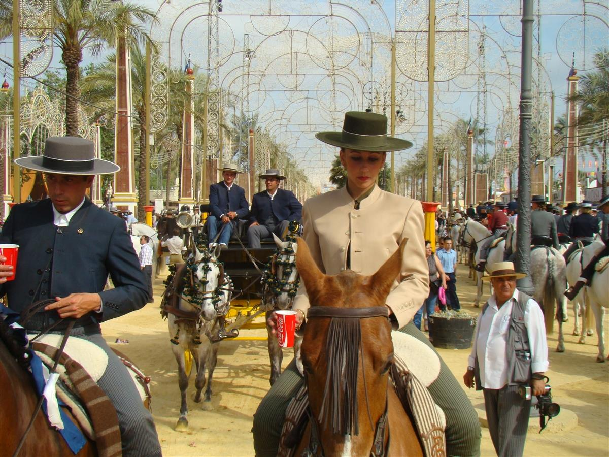 Jerez horse fiesta in May.  Local families in their best outfits