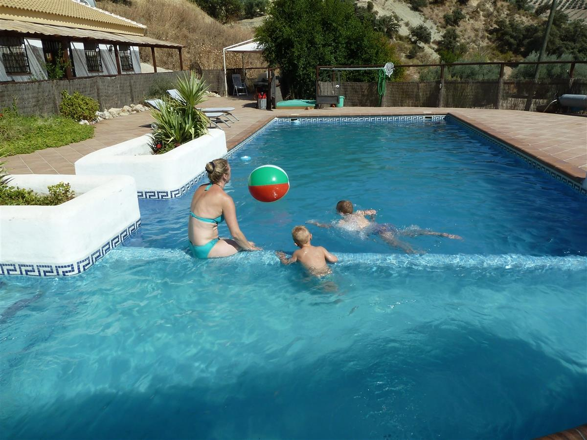 Swimming pool with shallow area for smaller children