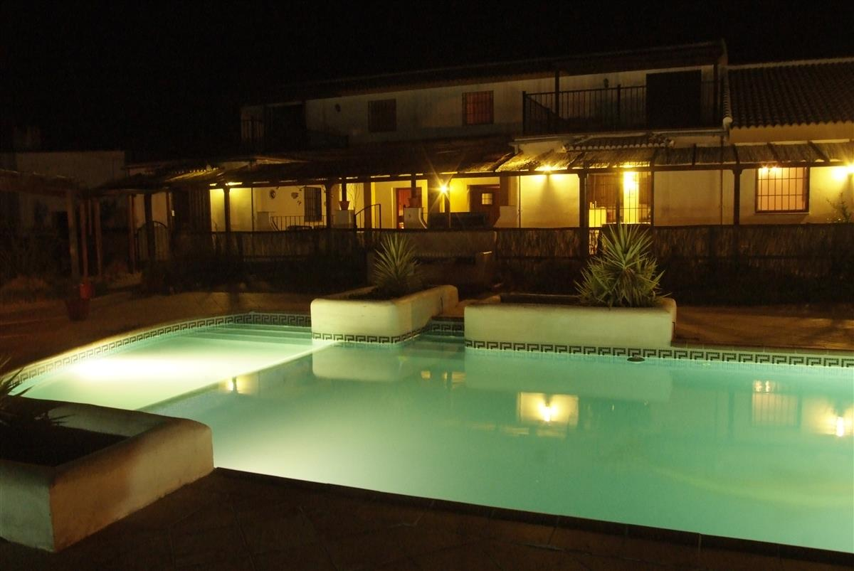 The villa at night during the warm summer evenings