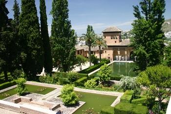 Some of the stunning gardens in the Alhambra Palace, Granada