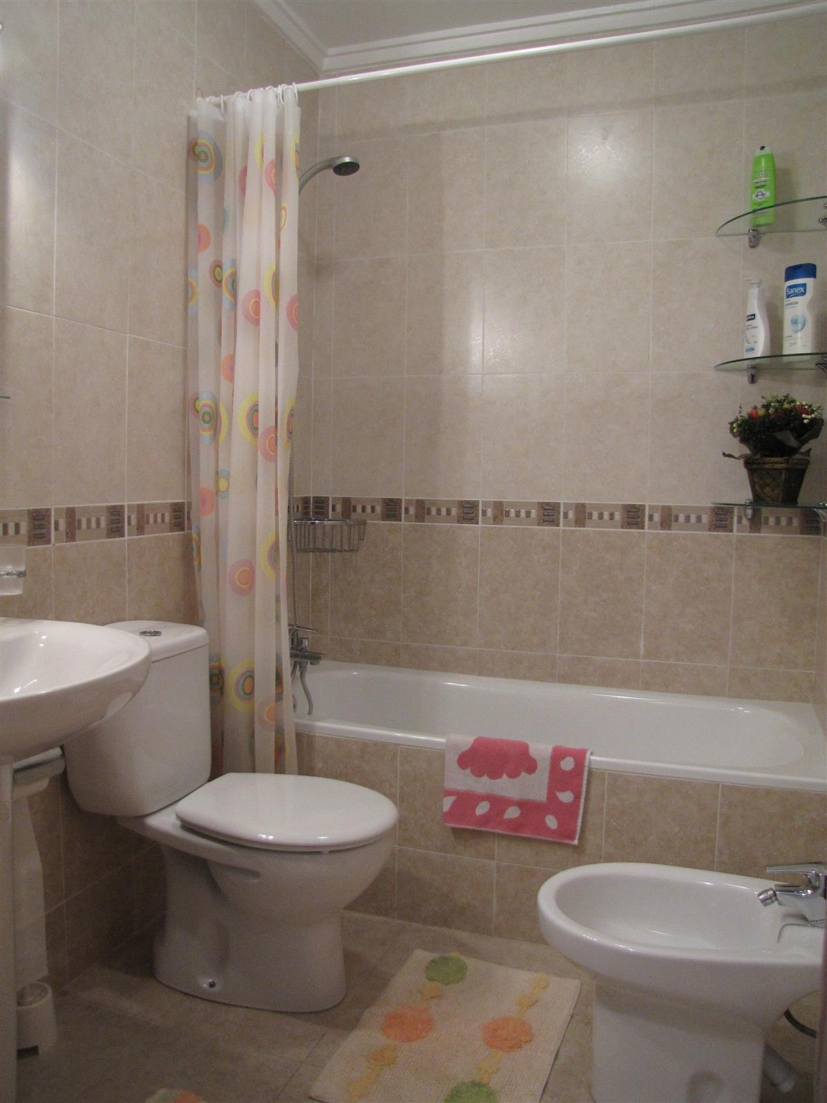 Bathroom with shower, bath, bidet, washbasin, mirror