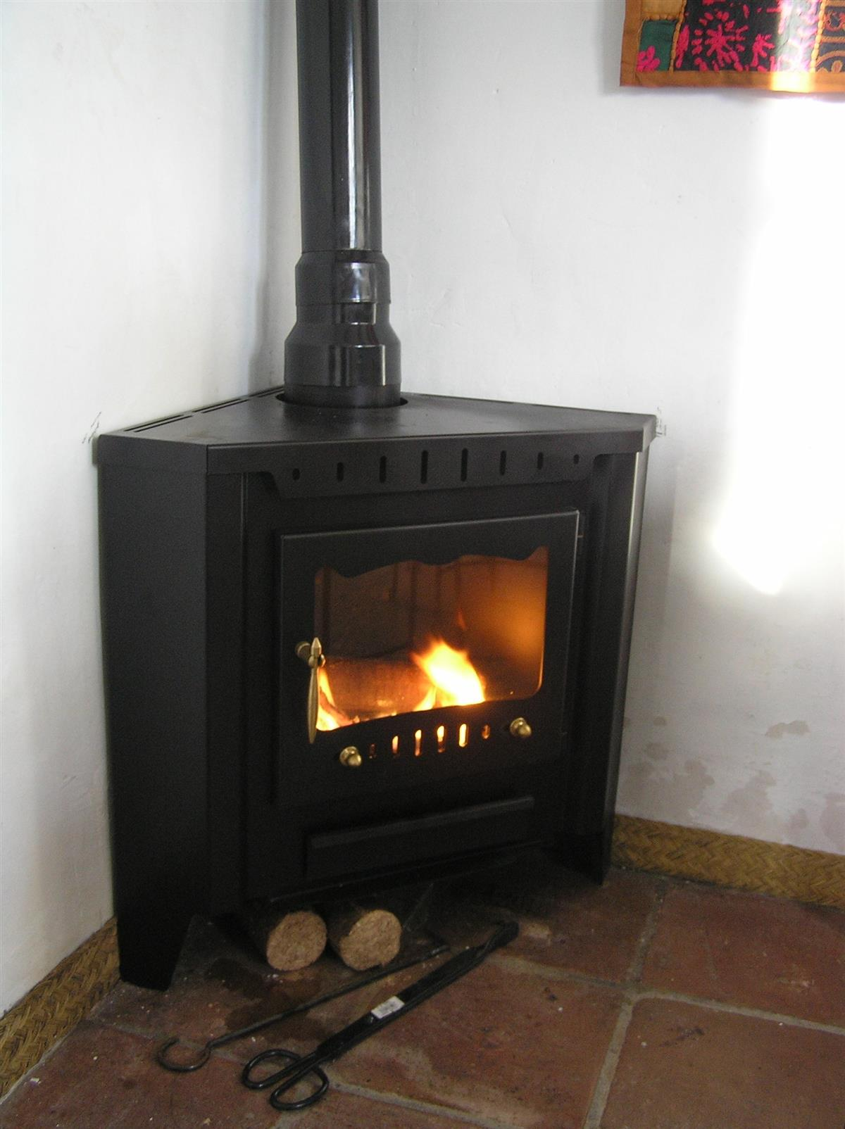 A woodstove on the topfloor